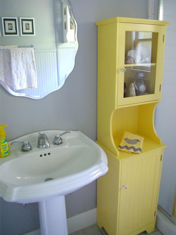 grey and yellow bathroom redo - oleander + palm